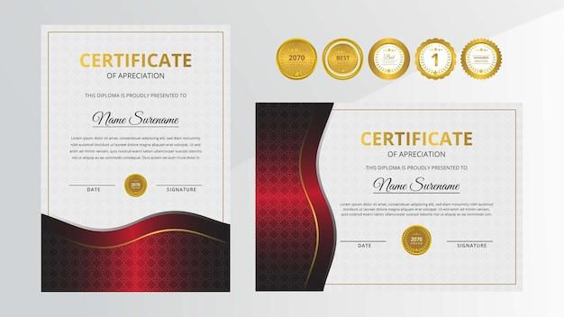 Certificato di lusso nero e rosso sfumato con set di badge d'oro per affari e istruzione a premi