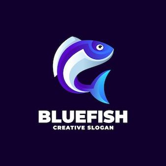 Modello di logo creativo moderno pesce azzurro sfumato