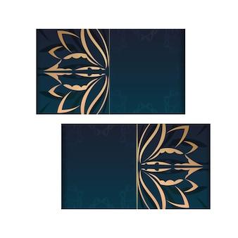 Modello di volantino sfumato blu sfumato con tipografia di ornamenti d'oro vintage preparati.