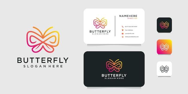 Disegno di marchio animale farfalla gradiente con modello di biglietto da visita.
