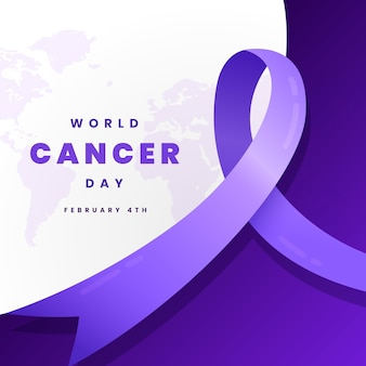 Nastro di giorno del cancro gradiente sulla mappa del mondo