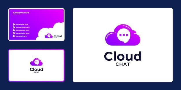 Logo nuvola sfumata con combinazioni di chat a bolle e biglietto da visita,