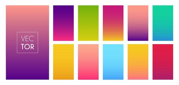 Colore sfumato moderno sfondo luminoso raccolta smartphone schermo vettoriale tema multicolore per sto...