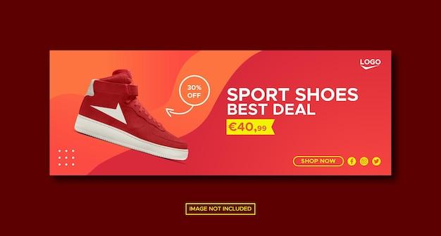 Modello di banner post facebook sui social media di promozione delle scarpe sportive di colore sfumato