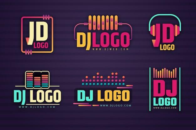 Set logo dj colorato sfumato