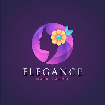 Modello di logo del salone di capelli colorati sfumati su sfondo scuro