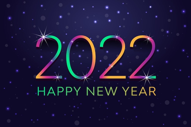 Gradiente colorato lampeggiante che cade splendente nevicata rivela felice anno nuovo 2022 sfondo astratto