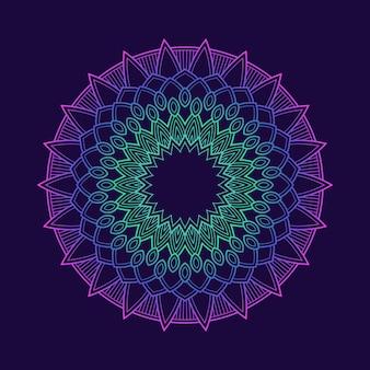 Sfondo sfumato colorato modello mandala. motivo floreale in colore neon. arabesque tessuto tessile.