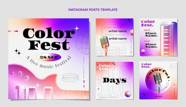 Festival musicale colorato sfumato ig post