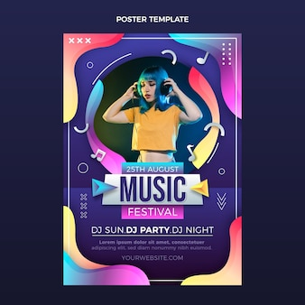 Poster del festival musicale colorato sfumato Vettore Premium