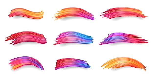 Gradiente di sbavature colorate, da rosso ad arancione, viola, pennellate blu, imbrattatura di vernice acrilica o set di tamponi ad acquerelli isolati, tinte o disegni a inchiostro. decorazione astratta o elemento di design colorato