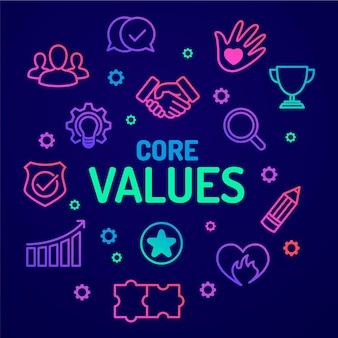 Illustrazione del concetto di valori fondamentali del gradiente
