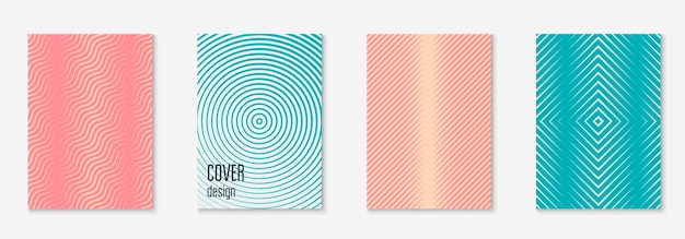 Modello di copertina sfumato. rivista digitale, brevetto, certificato, mockup di pagina. rosa e turchese. modello di copertina sfumato con elementi e forme geometriche di linea.