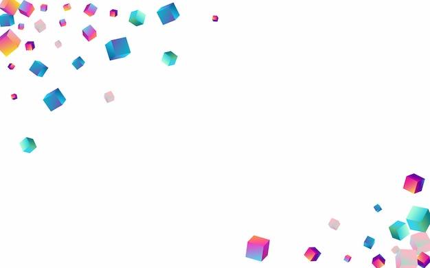 Fondo bianco di vettore del cubo di gradiente. sfondo luminoso elemento aziendale. modello geometrico del rombo. brochure sulla struttura dei coriandoli iridescenti.