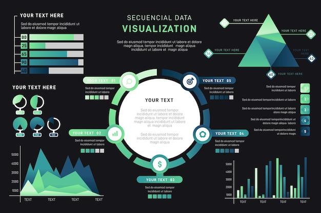 Visualizzazione dei dati a gradiente infografica Vettore Premium