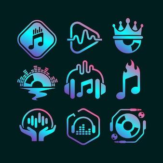 Collezione logo dj gradiente