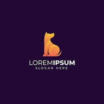 Modello di progettazione di logo di cane gradiente