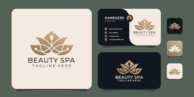 Elementi di design del logo della spa di bellezza elegante sfumato per il resort dell'hotel spa del salone