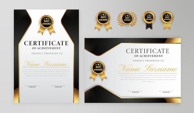 Bordo del certificato nero e oro sfumato elegante con set di badge per modello aziendale e diploma