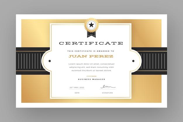 Premio certificato gradiente elegante