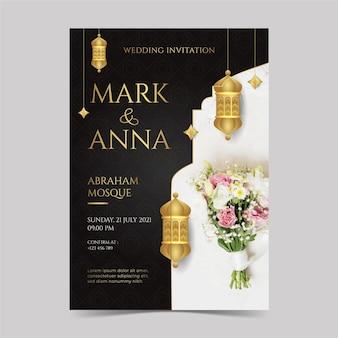 Inviti di nozze dorati eleganti sfumati