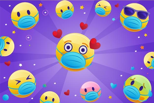 Emoji sfumato con sfondo maschera facciale