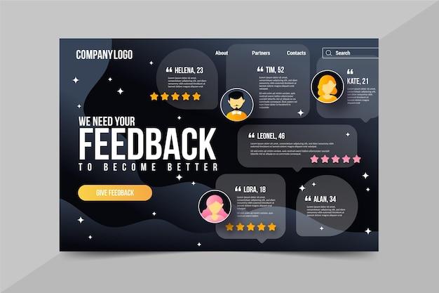 Modello di pagina di destinazione con feedback gradiente Vettore Premium