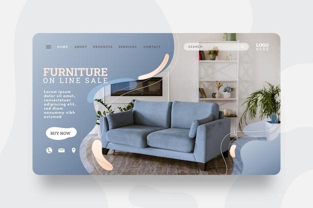 Modello di banner di vendita di mobili sfumati con foto
