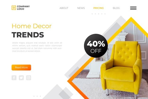 Modello di pagina di destinazione per la vendita di mobili a gradiente