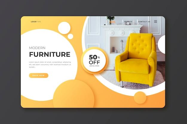 Pagina di destinazione della vendita di mobili sfumati