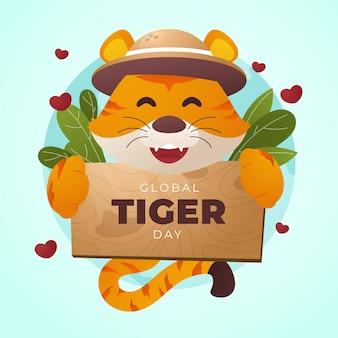 Illustrazione di giorno della tigre globale gradiente