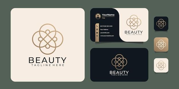 Concetto di design del logo del fiore di bellezza dell'oro sfumato
