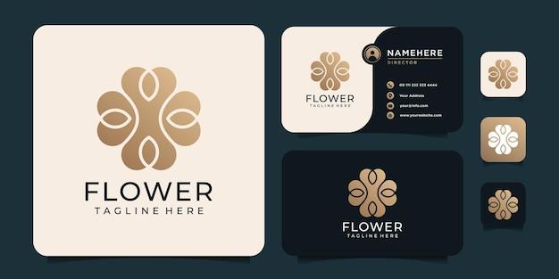 Logo creativo di nozze di meditazione foglia fiore dorato sfumato