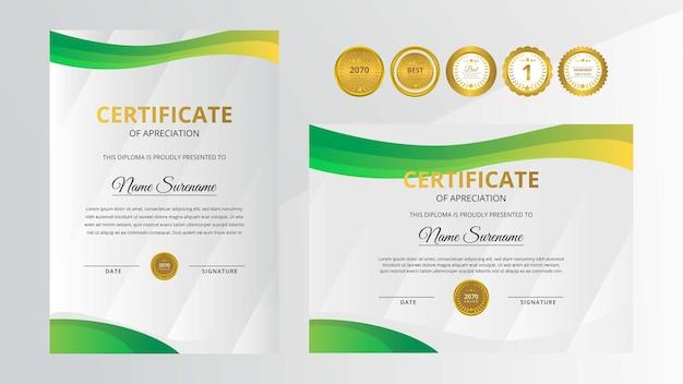 Certificato di lusso sfumato dorato e verde con set di badge d'oro per affari e istruzione a premi