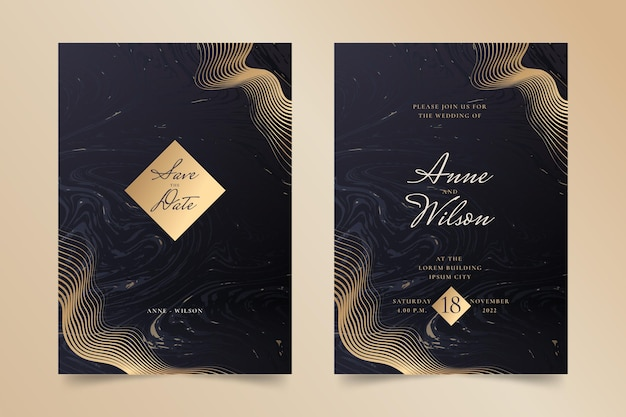 Modello di invito a nozze di lusso dorato sfumato