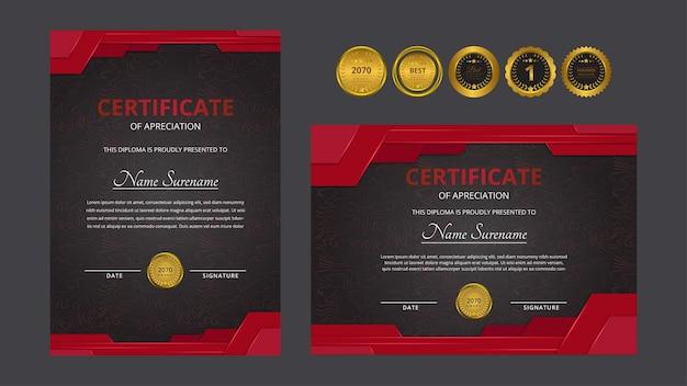 Certificato di lusso rosso dorato sfumato con set di badge d'oro per esigenze aziendali e educative di premi
