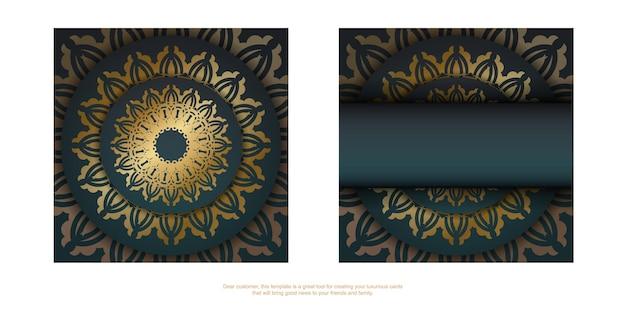 Brochure di auguri sfumata verde sfumata con ornamento in oro antico preparato per la tipografia.