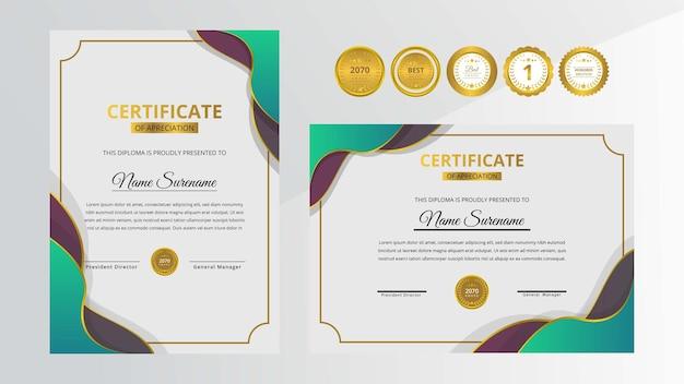 Certificato di lusso verde e rosso sfumato con set di badge d'oro per affari e istruzione a premi