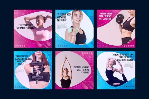 Raccolta di post di salute e fitness sfumati con foto