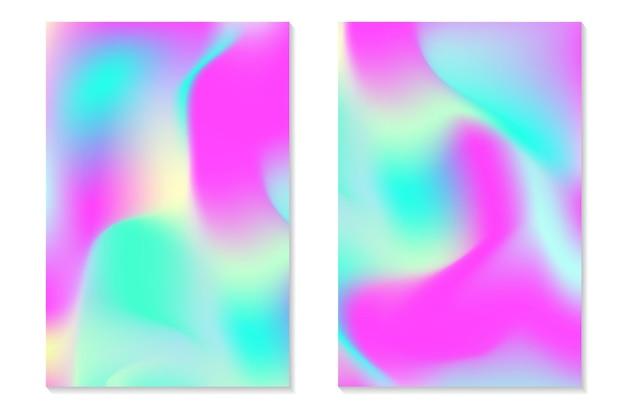Sfondi ologramma sfumato. set di poster olografici colorati in stile retrò. trama pastello al neon vibrante. modello sfumato di vettore per flyer, banner, schermo mobile.