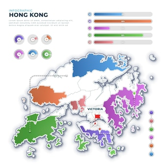 Gradiente infografica mappa di hong kong
