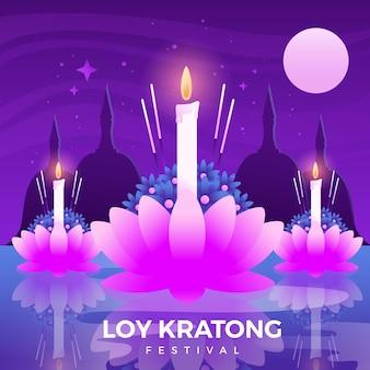 Fiore di loto krathong loy gradiente e candele