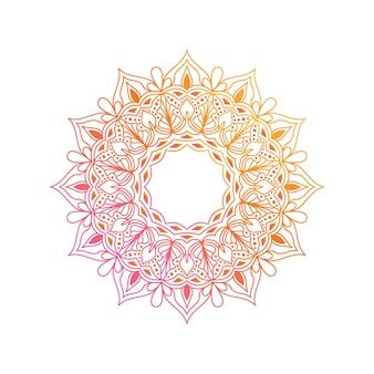 Elemento di design mandala sfumato. mandala boho vettoriale in vivaci colori rosa e arancioni. mandala con motivi floreali.