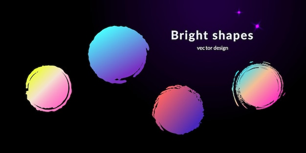 Striscioni moderni sfumati a forma di cerchio per il web o il design di stampa. set di quattro moderne forme astratte strutturate vettoriali di diversi colori cosmici su sfondo nero
