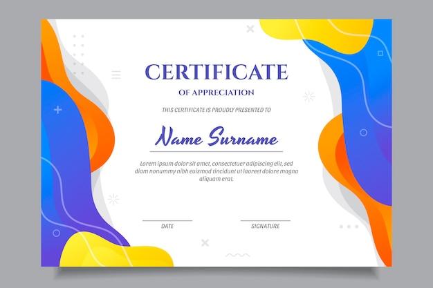 Certificato di apprezzamento moderno gradiente