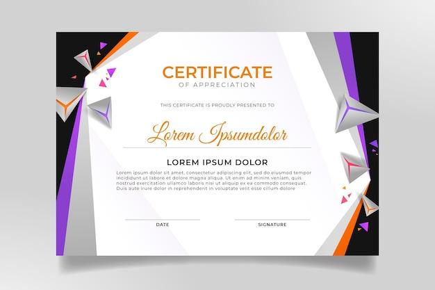 Modello di certificato moderno sfumato