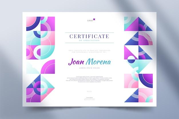 Modello di certificato mosaico sfumato