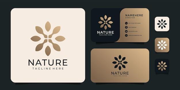 Design del logo del fiore della natura sfumata