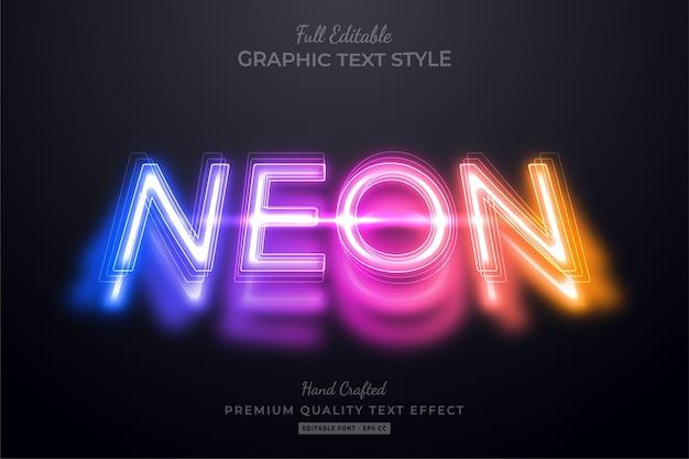 Effetto stile di testo premium modificabile al neon sfumato
