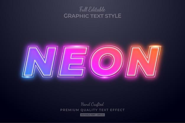 Stile carattere sfumato al neon modificabile effetto testo